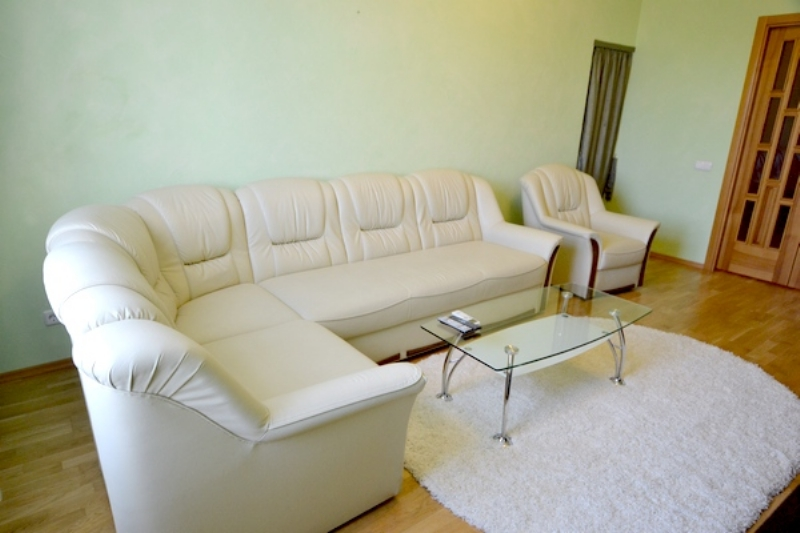 iLiving room with a cosy leather sofa, an arm-chair, a little glass table and TVset.